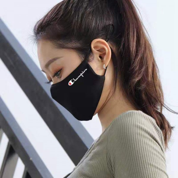 Brand Luxury Champion Face Masks Coronavirus Protection 3D Reusable Cloth Black Washable Facemask Corona Prevention Covering For Kids Adults
