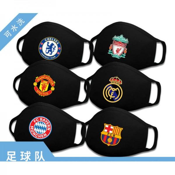 Football team logo fashion masks washable sports cloth masks autumn and winter wind and cold masks fashion trend football team logo pattern masks