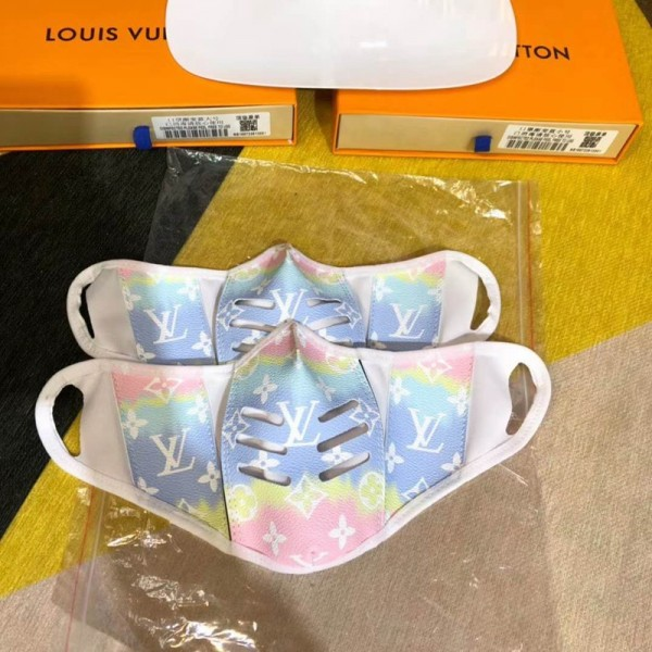Louis Vuitton Face Mask Monogramed LV Masks Adults Facemask Cotton Rainbow Pink Blue Colorful Mouth Coverings Designer Personal Care Applications