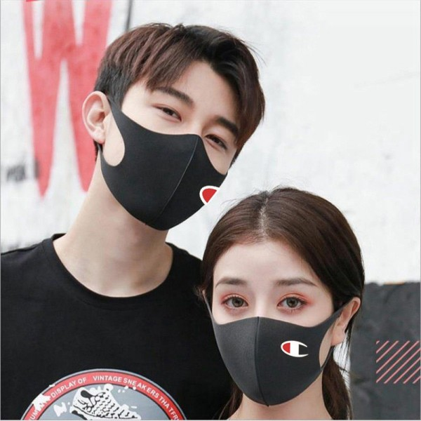 Champion Unisex Facemask Reusable Black Logo Face Masks Fabric Mask Streetwear Men's and Women's Fashion Best Face Coverings for Running 2021