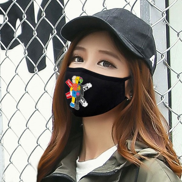 High Brand KAWS Toy Doll Supreme Air Jordan Cloth Washable Masks Black Protective Reusable Sport Breathable Fashion Mask Corona Coverings