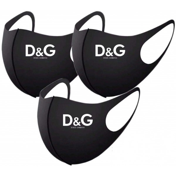 D&G Brand 3D Face Masks Washable Reusable Dolce & Gabbana Fashion Face Mask Handmade Anti-dust Black Coverings, for Teens and Adults