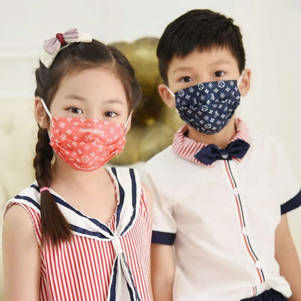 Children's LV Supreme Gucci Luxury Brand Mask 3 Layer Filter Protection Disposable Mask COVID-19 Dust Prevention Comfortable Masks Breathable Fashion Medical Fashionable Covering