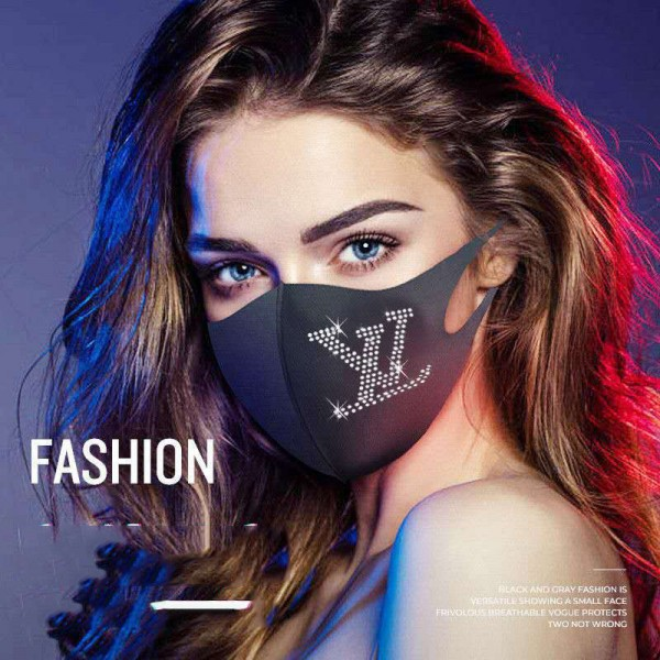 Women's High Brand Louis Vuitton Hermes Washable Rhinestone Shine Silk Masks Gucci Adidas Fashion Reusable 3D Cloth Cover