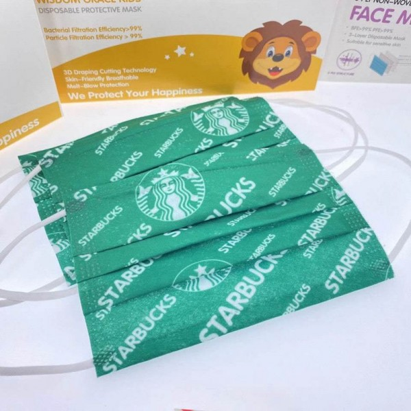 Brand Luxury Starbucks 50PCS 3 Layer Filter Protection Brand Masks Surgical Face Material Disposable PM2.5 Coronavirus Protection Facemask