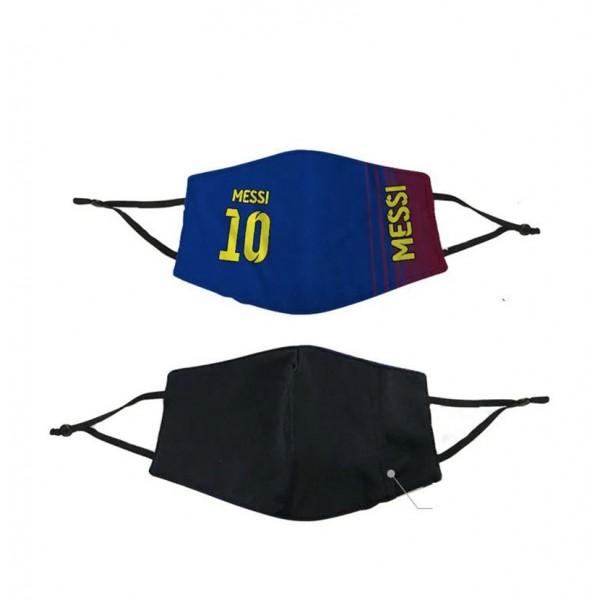 Brand Sport Cloth Washable Mask Football Handmade Masks FC Barcelona ACMilan Chelsea Manchester Madrid MESSI 10 RONALDO 7 Adjustable Reusable Corona Fashion Covering