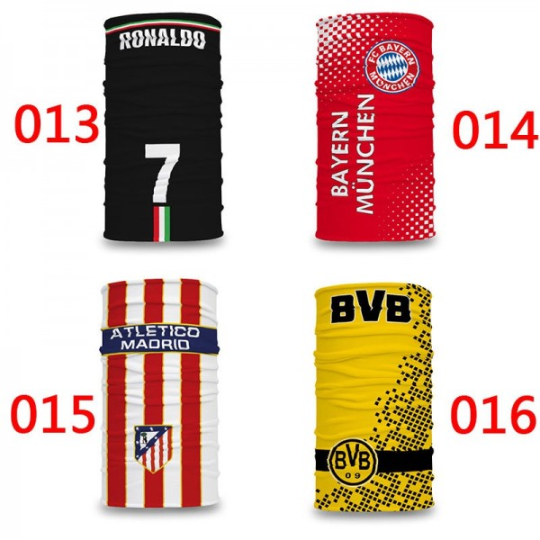 Brand Football FC Sports Mask Barcelona Milan Madrid Bayern Munchen Reusable MESSI 10 RONALDO 7 Washable UPF50+ Full Face Neck Protection Scarf Masks, 20x10 inches