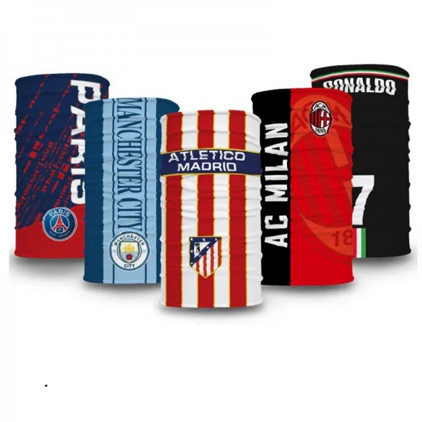 Brand Football FC Sports Mask Barcelona Milan Madrid Bayern Munchen Reusable MESSI 10 RONALDO 7 Washable UPF50+ Full Face Neck Protection Scarf Masks, 20x10 inches