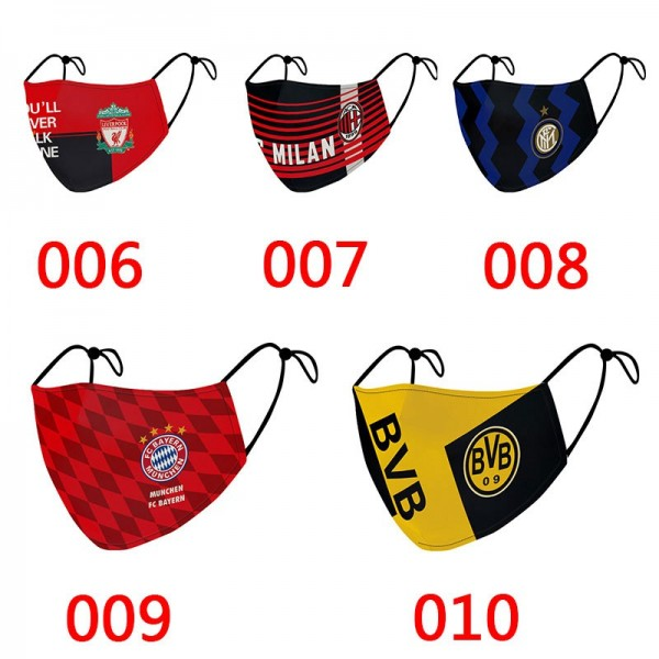 High Brand Nike Adidas Puma Masks Football Sports FC Barcelona Madrid Manchester Chelsea Ronaldo Covid-19 Protection Mask Pattern Fashionable Adjustable Mouth Cover, for Mens Ladies
