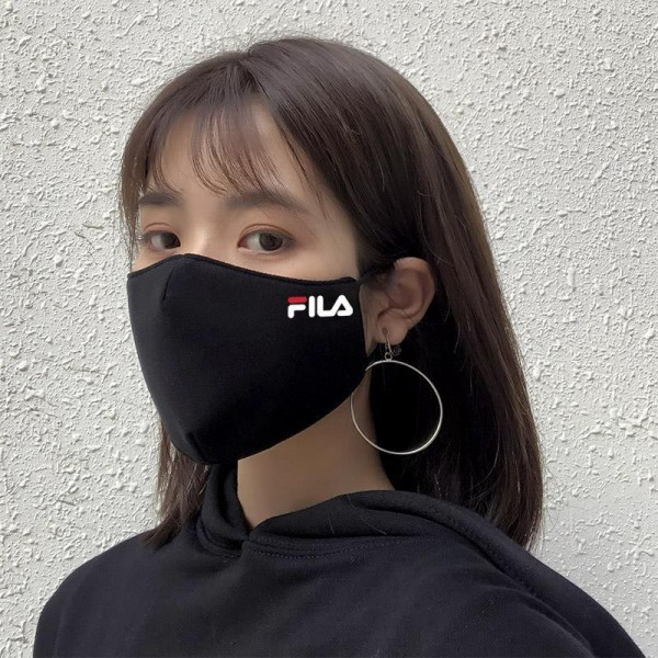 FILA Face Mask in Black with LOGO Authentic Cloth Masks for Teens and Adults Korea Japanese Style Fashionable Streetwear Shield with Adjustable Strap