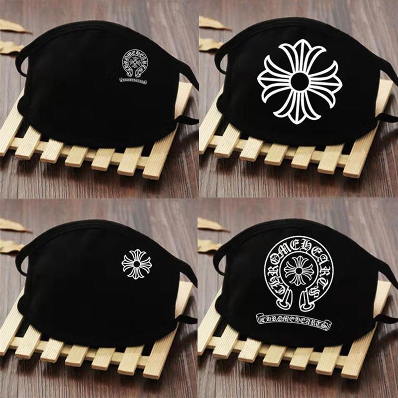 chrome heart trendy brand luxury face mask black reusable mask