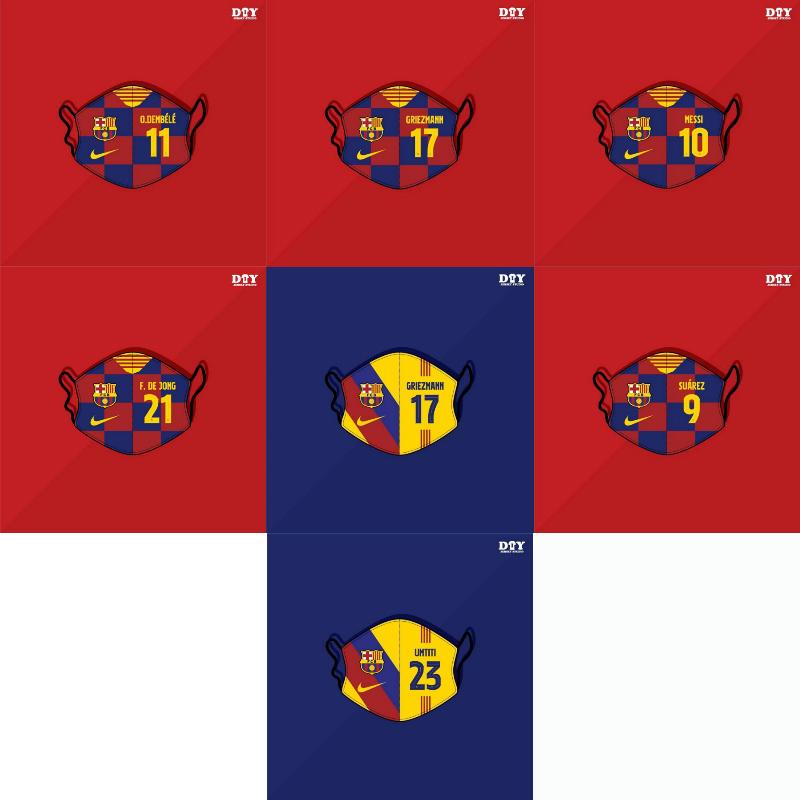 Barcelona Football Club Player Number Fashion Trend Masks