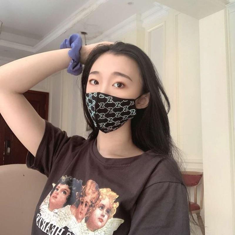 Black Gucci style rhinestone fashion cloth face mask