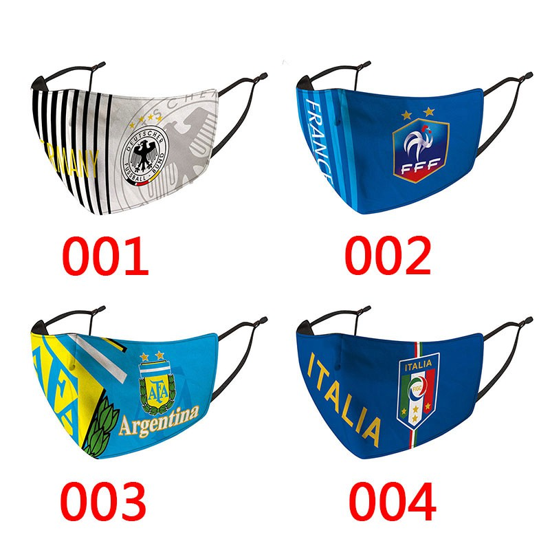 National Team Soccer Cloth Face Masks For Teens And Adults Cotton Washable Face Cover 3D Corona Virus Reusable