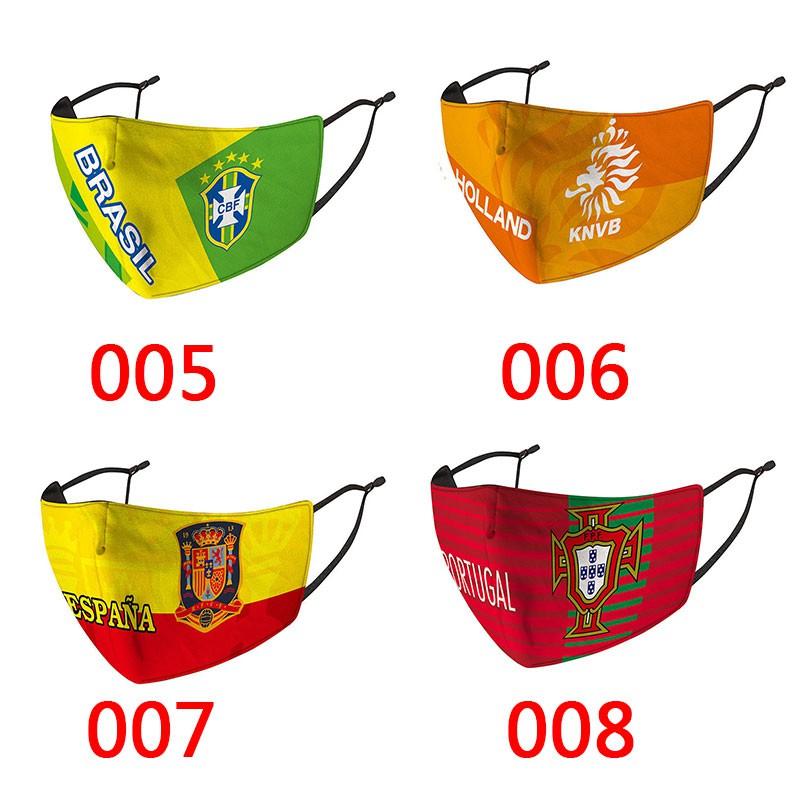 National Team Fottball Cloth Corona virus COVID-19 Cotton Face Masks Protection Face mask 3D Reusable Washable Luxury Brand