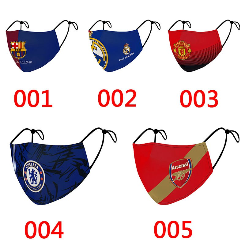 Brand Football Sports FC Barcelona Madrid Manchester Chelsea Ronaldo Adjustable Covid-19 Masks